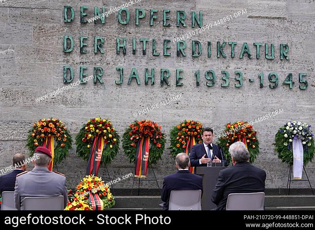 20 July 2021, Berlin: Hubertus Heil (SPD), Federal Minister of Labour, speaks at the commemoration of those murdered in the resistance against National...