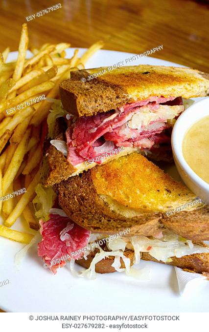 Thsi unique reuben sandwich is made with corned beef and sauerkraut