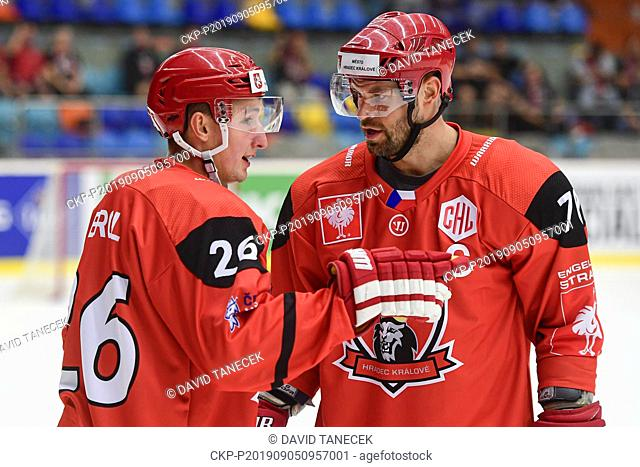 From left hockey players ALES JERGL, RADEK SMOLENAK of Hradec Kralove in action during the Champions Hockey League H group game: Hradec Kralove vs Cardiff...