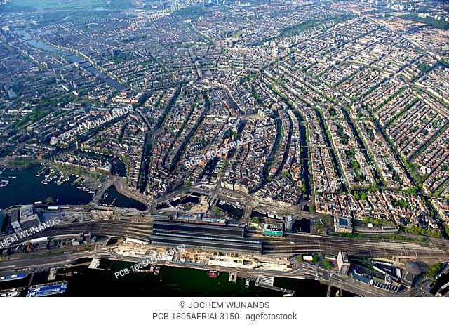 Holland, Amsterdam, aerial view of city centre
