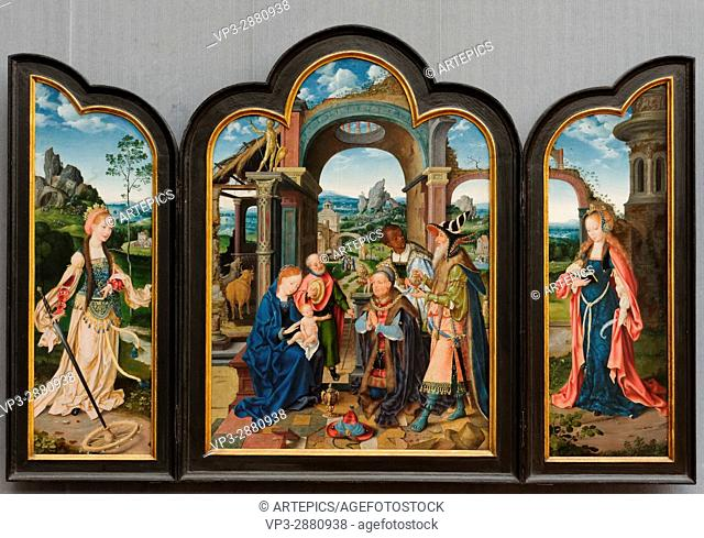 Joos van Cleve - Triptych of the Adoration of the Magi - 1520 - XVI th Century - German School - Gemäldegalerie - Berlin