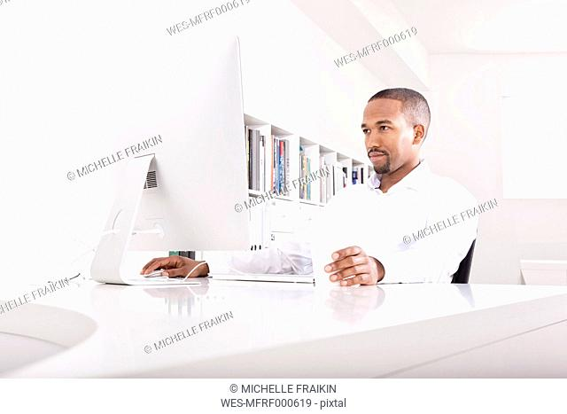 Portrait of businessman working at computer in the office