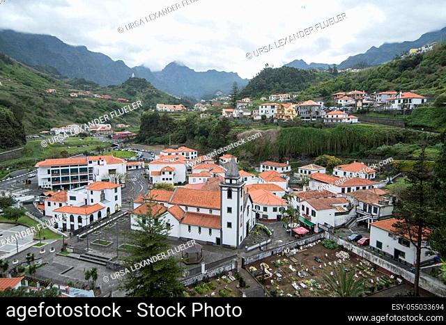 the Town of Sao Vicente on the Island of Madeira in the Atlantic Ocean of Portugal. Madeira, Porto Moniz, April, 2018