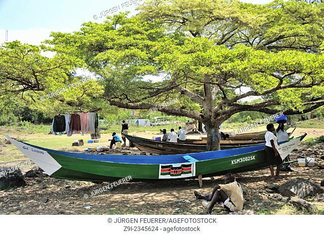Kendu Bay with its boats, Lake Victoria, Kenya