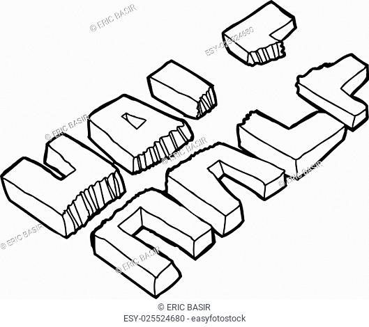 Outline illustration a word ripped in half