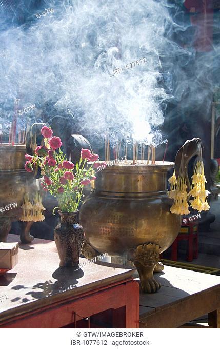Incense burner, Taoist temple, Yangon, Myanmar, Burma, Southeast Asia
