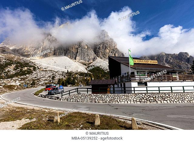 Europe, Italy, the Dolomites, South Tyrol, Passo di Falzarego, cable car to the Lagazuoi, valley station