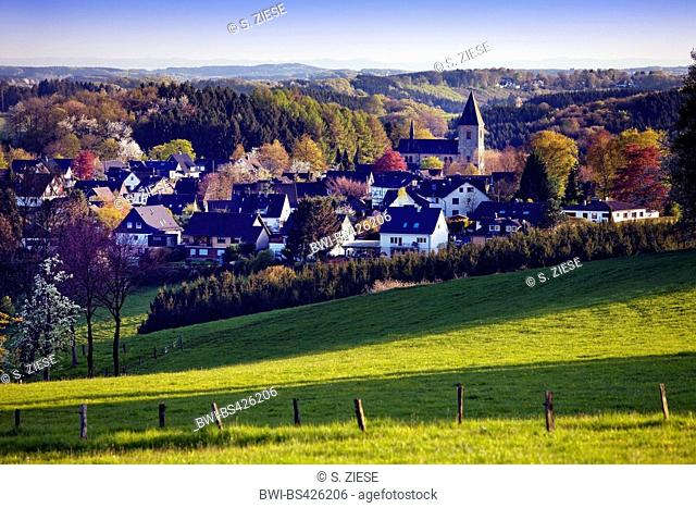 hilly landscape of Oberbergisches Land and Lamsfuss village, Germany, North Rhine-Westphalia, Bergisches Land, Wipperfuerth