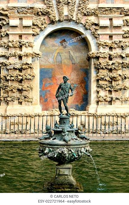 Water feature at the Real Alcazar Moorish Palace in Seville