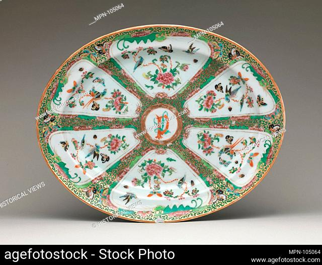 Platter. Date: ca. 1860-66; Geography: Made in China; Culture: Chinese, for American market; Medium: Porcelain; Dimensions: 11 15/16 x 14 1/4 in. (30