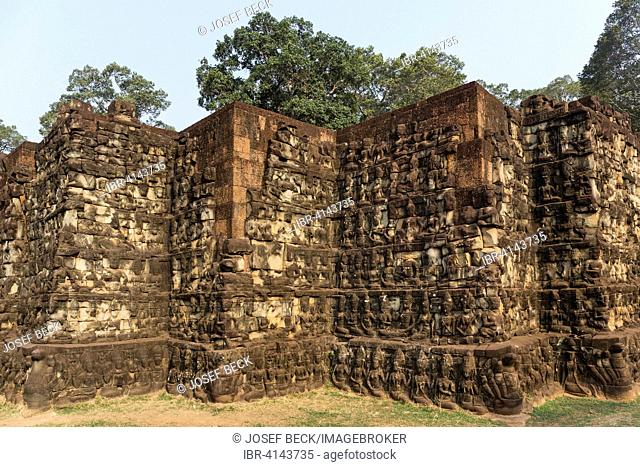 Terrace of the Leper King, outer wall, figures of deities, Angkor Thom, Siem Reap Province, Cambodia