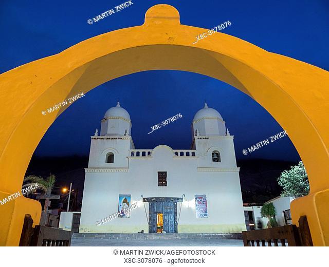Iglesia Nuestra Senora del Rosario. Town Tilcara in the canyon Quebrada de Humahuaca. The Quebrada is listed as UNESCO world heritage site