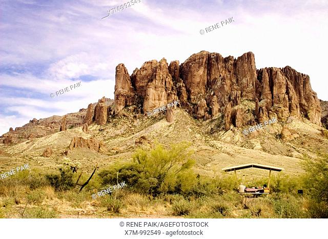 View of the Superstition Mountains from the picnic area  Superstition Mountains in Lost Dutchman State Park near Mesa, Arizona  The Superstition Wilderness area...