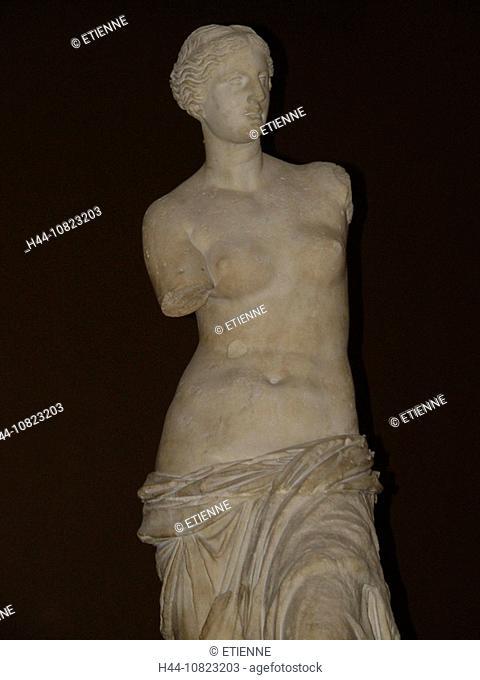 Venus of Milo, Aphrodite, sculpture, figure, statue, in Greek, antiquity, antique, Hellenism, museum Louvre, Paris, Fr