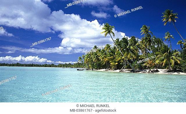French-Polynesia, Iles de la Societe islands under the wind island Bora-Bora lagoon reef-island 'Motu', palm-beach, South sea, Ozeanien, South Sea*-islands