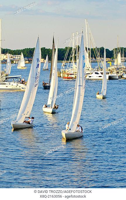 Wednesday night sail boat races, Annapolis, Maryland USA