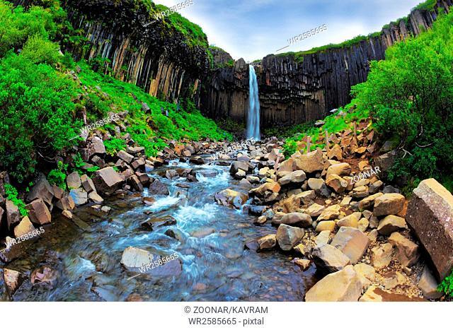 Picturesque waterfall Svartifoss