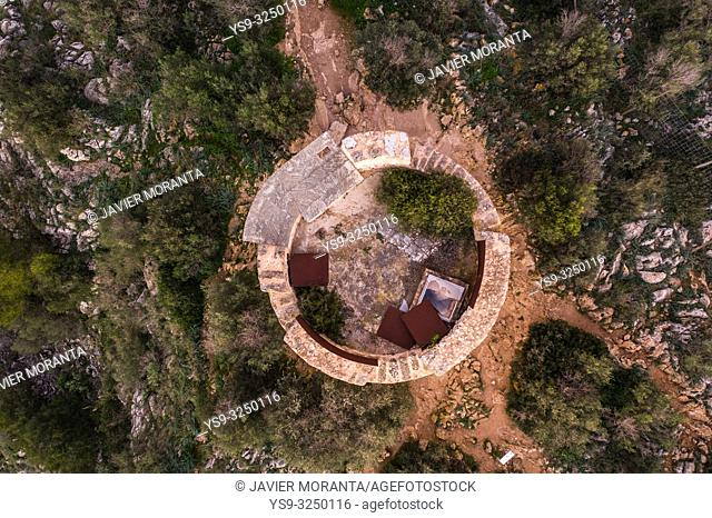 Aerial photography of the Tower of Cap Andritxol, in Andratx, Mallorca, Spain, Balearic Islands