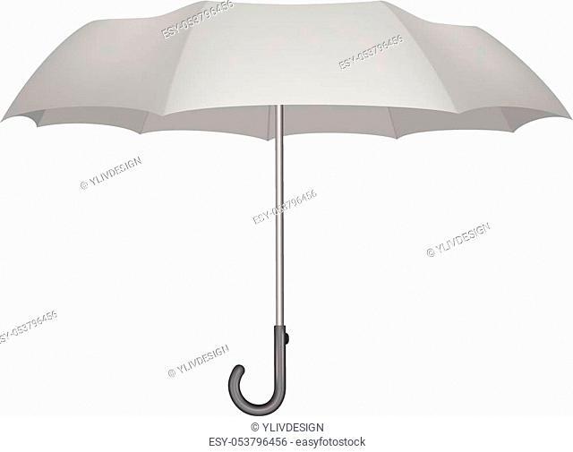 Classic umbrella mockup. Realistic illustration of classic umbrella vector mockup for web design isolated on white background