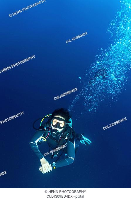 Underwater view of diver at the Tubbataha Reefs Natural Park, Cagayancillo, Palawan, Philippines