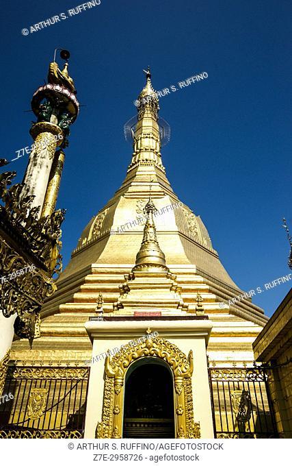 Golden, octagonal-shaped stupa with an umbrella-shaped finial (hti), Sule Pagoda, Yangon, Myanmar