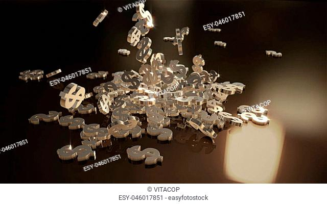 Signs of dollars falling on a pile. Volumetric models