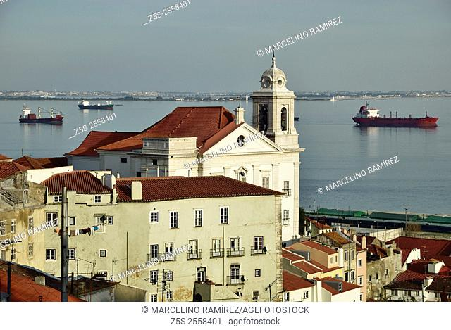 View of Alfama from viewpoint das Portas do Sol. Lisbon. Portugal. Europe