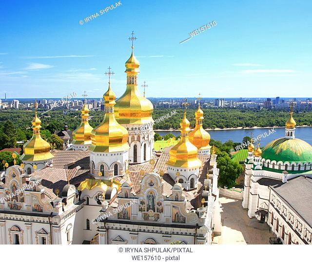 Golden domes of Dormition Cathedral, Kiev Pechersk Lavra, Kiev, Ukraine