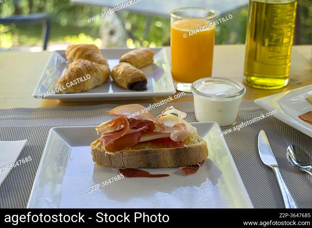 Delicious Breakfast with foliage background