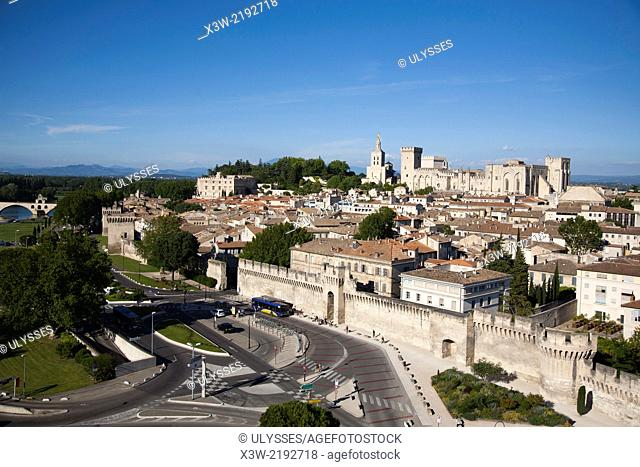 aerial view and rhone river, avignon, provence, france, europe
