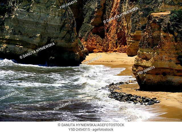 Europe , Portugal , Algarve , Western Algarve , Faro district, Lagos, famous Dona Ana beach one of most beautiful beaches in Portugal