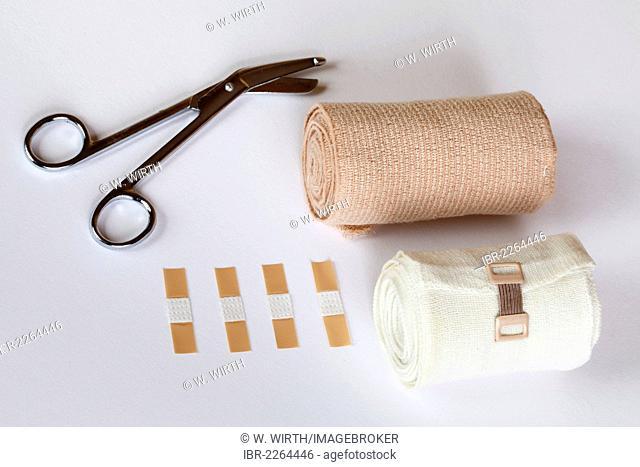 Bandage scissors, plasters and bandages