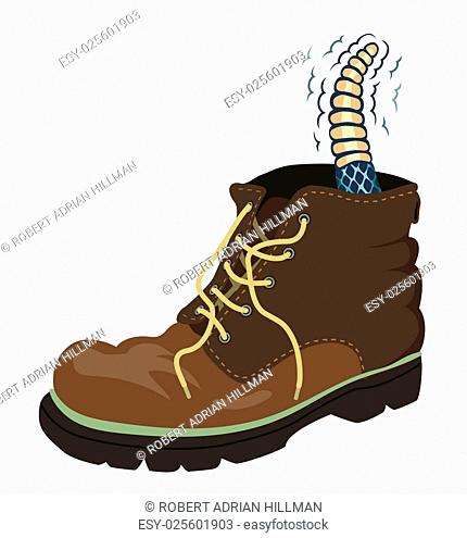 Editable vector illustration of a rattlesnake inside a walking boot