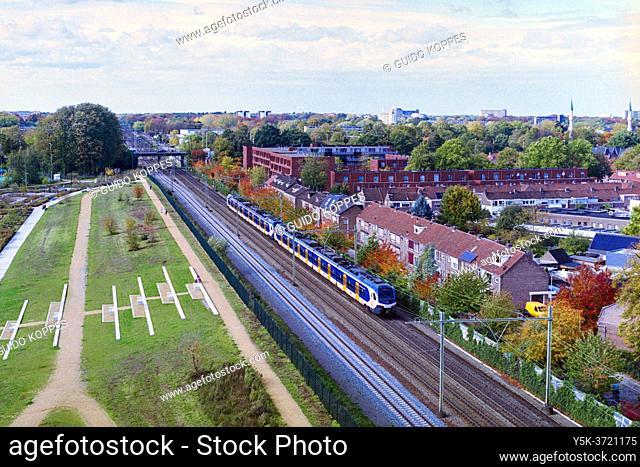 Tilburg, Netherlands. View on Tilburg-Erst and Traintracks from Spoorpark Tower