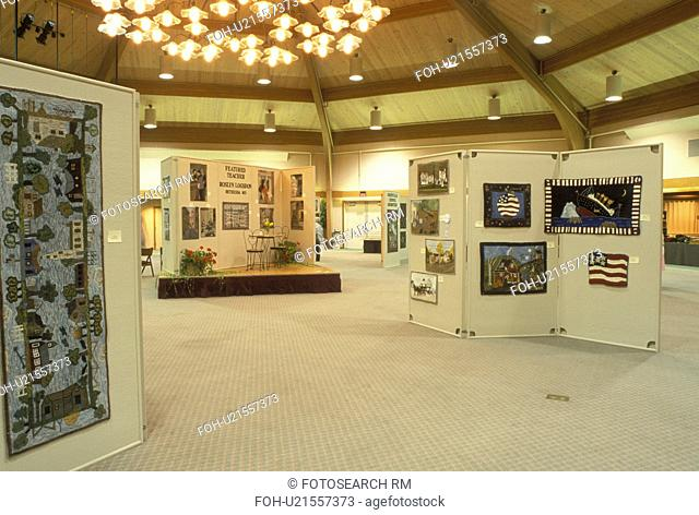 OH, Ohio, Archbold, Rug Hooking exhibits inside Founder's Hall at the Historic Sauder Farm and Craft Village