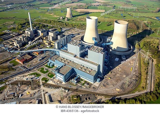 Aerial view, coal power plant, RWE Westfalen power plant, former nuclear power plant Hamm, Hamm, Ruhr district, North Rhine-Westphalia, Germany
