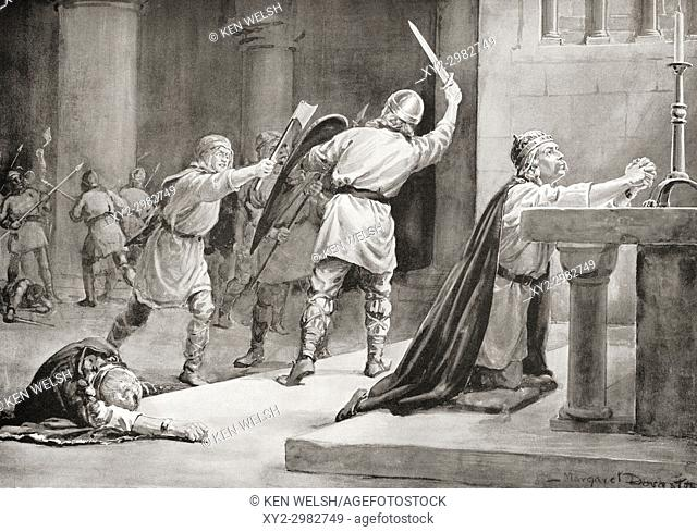 The murder of Canute IV of Denmark by rebels in 1086 at St. Alban's Priory in Odense, Denmark. Canute IV, c. â. ‰1042 -1086