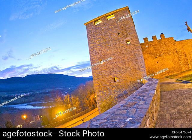City Wall, 11-15th Century, Medieval Village of Aínsa, Villa de Aínsa, Sobrarbe, Huesca, Aragón, Spain, Europe