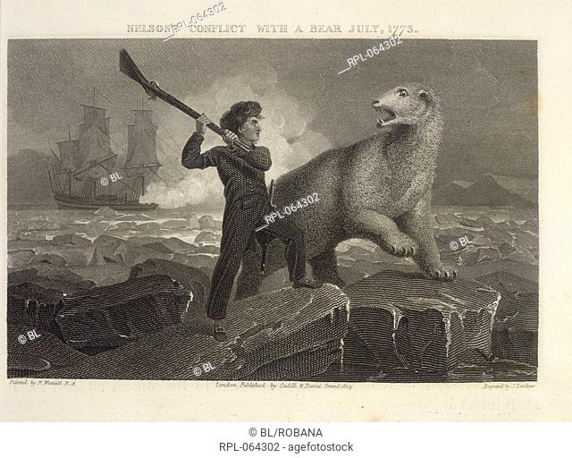 Nelson's conflict with a bear 'Nelson's conflict with a bear July 1773'. The young Horatio Nelson fights off a bear during his Arctic voyage while the ship...