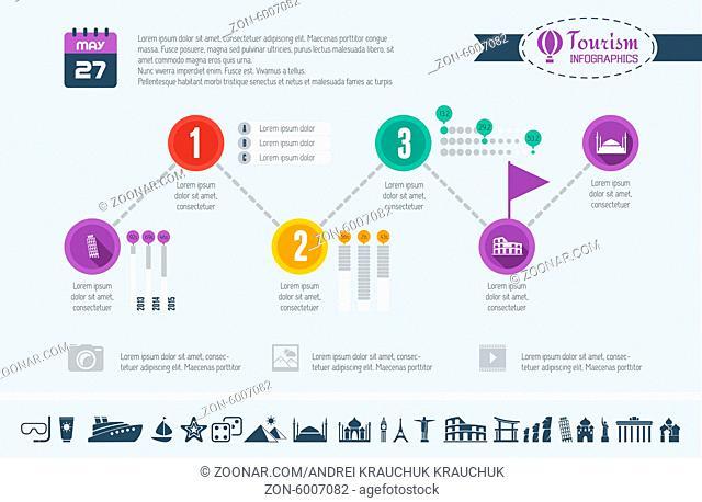 Flat Infographic Elements plus Icon Set. Vector EPS 10