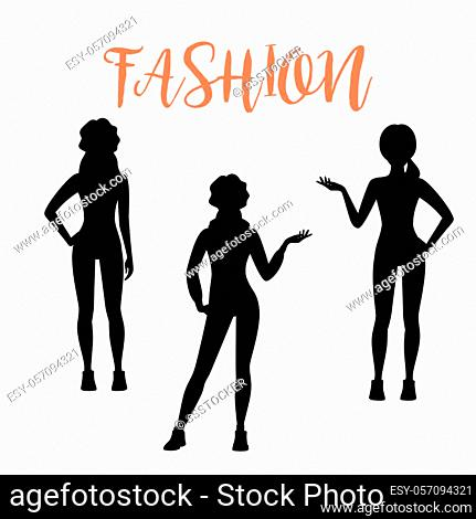 Fashion woman silhouette in different poses isolated on white background in a sporty style. Vector illustration