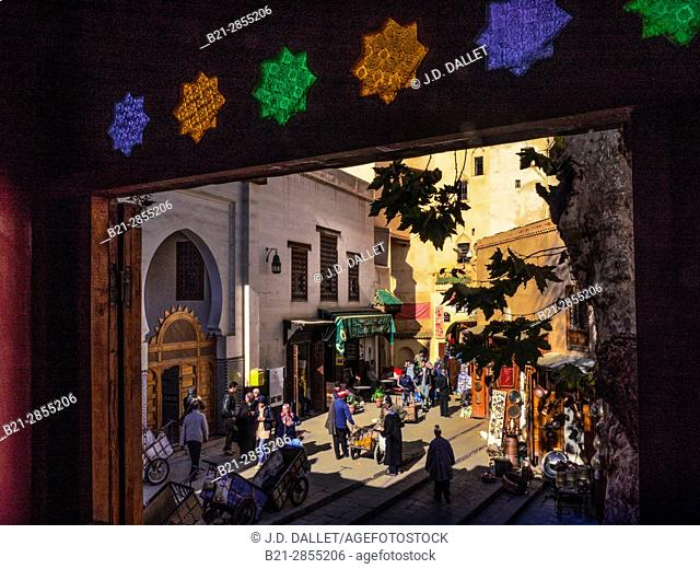 """Morocco, Fes, Seffarine Plaza, with the entrance to the Karaouyne Library, in the """"""""Medina"""""""" (old part) of Fes"""