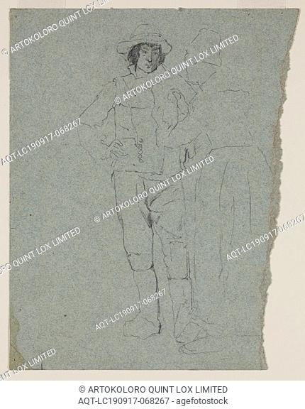 Thomas Hovenden, American, 1840-1895, Hoc Signo Vinces, 1880, pencil on blue wove paper, Sheet (irregular): 9 1/4 × 6 5/8 inches (23.5 × 16.8 cm)