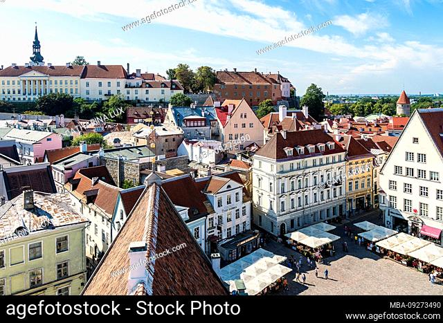 Estonia, Tallinn, view from the city hall towards the old town and Domberg