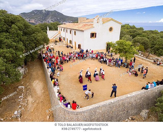 Pilgrimage and traditional bolero dances. Ermita de Maristel·la, shrine devoted to the Virgen del Carmen, established in 1890, Son Ferra forest, Esporles