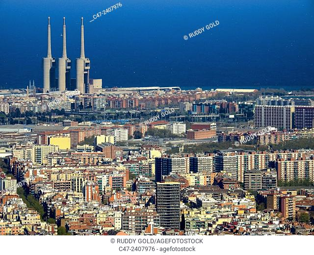 City view and thermal power station in background, Barcelona, Calalonia, Spain
