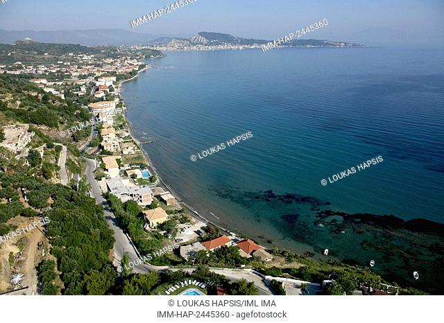 South-East aerial view of Zakynthos island, near Argassi. Zakynthos, Ionian Islands, Greece, Europe