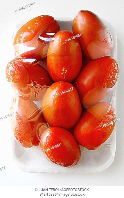 Wet tomatoes-packaging on vine on white background