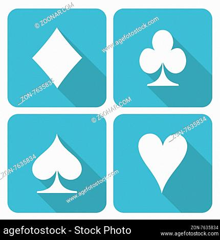 Set of four square icons with card symbols, isolated on white