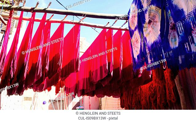 Dyed textiles hung out to dry, Marrakech, Morocco